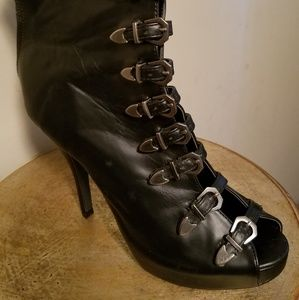 Womens black leather booties